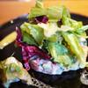 西洋割烹 かるにえ - 料理写真:サーモンのタルタル 焼きナス添え
