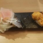 149416463 - 極み寿司(レア鰯と生ハムの禁断の出逢い、海のフォアグラ雲丹バター炙り)