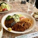 喰いもの屋おおき - 豚肉ヒレカツとハンバーグ定食