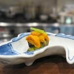 鳥田中 - うなす(雲丹茄子)。可愛いお皿^^ 染め付向付の鯰で登場
