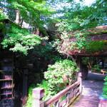 黒茶屋 - 入り口の水車と門