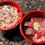スーパーオカムラ - アジ丼とマグロ丼