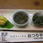 能登キリコ茶屋 おっちゃん - 八寸(鱈子の菊花造り、能登もずく、こごめの胡麻和え)