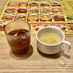 あんかけスパゲティの店 ユウゼン - 先に供されたスープ&お茶