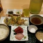 魚料理 渋谷 吉成本店 - 全景。冷たい緑茶が美味しい。味噌汁はちょっと塩辛かったです。高菜の漬物と、シラスの煮物が小鉢で付きます
