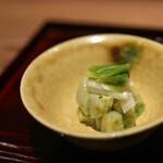 京味 もと井 - 箸休 筍と貝柱気の芽和え☆