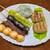 かすみだんごや - 料理写真:左から時計回りにしょうゆ・あんこ・ごま・ぬた・草餅・ゆべし(110円×6)