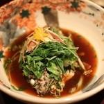島宿 真里 - 「煮」黒めばるの柚香煮 白菜 水菜 茗荷 葱