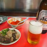 きらく - 料理写真:ホルモンW & ビール