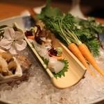島宿 真里 - 「鮮」春の造り盛り鉢 畑野菜