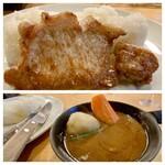 149554623 - 湘南ポーク ステーキカリー レギュラーセット                       ご飯のお皿にステーキをのせ、そこでナイフで切ります。