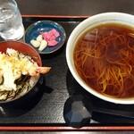 須坂屋そば - ミニ海老天丼セット