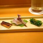 味享 - 前菜  菜の花のおひたし カラスミがけ、酢〆の春子鯛、明石の穴子の醤油タレ焼き
