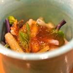 味享 - 赤貝のヒモとたらの芽と独活の冷製 煮こごりがけ