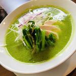 四川担担麺 蒼雲 - 美しい翠色のスープが目を惹く 椒麻麺・:*+.\(( °ω° ))/.:+