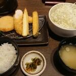 イマカツ - ササミカツ、カニクリームコロッケ膳 1,100円