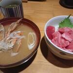 日本橋茅場町 寿司 鮮極 - ランチ トロづくし丼 蟹汁付 1000円