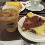 カフェ珈琲館 - マーブルシフォンケーキセット 700円