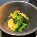 地鶏道 大はし - 青菜と油揚げ