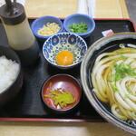 美曽乃 - 料理写真:冷かけうどん+ピリ辛玉子かけごはん