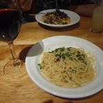 torattoriaremon - スパゲッティアーリオオーリオ、グラス赤ワイン、明太子としめじのスパゲッティ