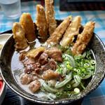 よもぎうどん - 肉ごぼううどん よもぎ麺