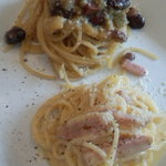 Ichimiichie - パスタ二種、カルボナーラと黄トマトのスパゲッティ