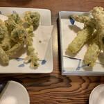 嘉司屋 - こごみの天ぷらとアスパラの天ぷら