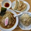 ひかり食堂 - 料理写真:「ラーメン」@650+「ミニ玉子チャーハン」@250+「ジャンボ餃子(3個)」@350