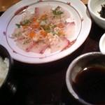 14986522 - 平日ランチ:朝〆カンパチのあつ飯茶漬け(950円)