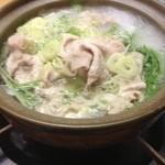 海食亭 むつわん - 2000円コース、④鍋物、豚と水菜のポン酢
