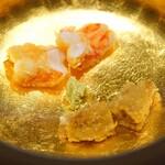 三谷 - 車海老とムラサキ雲丹のフライ