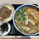ウエスト - 博多うどん&肉めしセット(790円)+麺大盛(160円)+ごぼう天(150円)+丸天(180円)