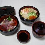 一福寿司 - 海鮮ちらし1575円。一種類になって、ボリューム⤴︎