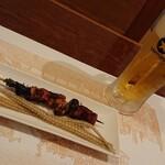 うなぎん - 骨焼き、肝ヒレニラ串