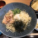 蕎麦といろり焼 創 - 日替りB おろしそば・旬の天ぷら(鱚)・ご飯もの(野菜のかき揚げ)