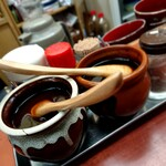 Tonkatsukaya - 手前が胡椒の入った辛口ソース・奥がノーマルのソース 202104