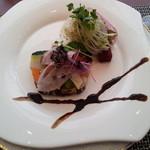14996295 - 前菜 鰤のソテーと野菜のテリーヌ(らしい)