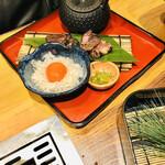 gyuutoroyakishabusemmontenjuunimatsurokuzaemon - 黒毛和牛の発酵ビーフ卵黄タルタル
