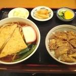 長寿庵 - きつねそば+ミニ焼肉丼