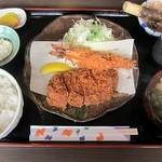 とんかつ播 - エビ&ロースカツ定食1449円