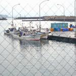 女性部食堂 - 窓から漁港を望む