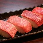しちりん屋西院厨房 - 「和牛のにぎり」 630円 ※大トロにぎりは、あぶりもできます。