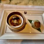 ヘイフンテラス - 新玉葱と青韮の焼餃子、穴子と山芋 湯葉黒豆蒸し