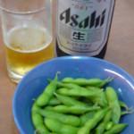 餃子の王将 - ビールセットの瓶ビールと枝豆