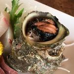 富田屋 - サザエのお刺身 キモはゆでてあります