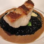 AKI NAGAO - 訪問5回目-本日のお魚料理(ハタとイカスミリゾット)※イカスミ初体験