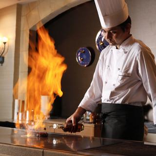 熟成牛や京の肉をライフ感溢れる鉄板焼きで!