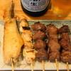 鳥もと - 料理写真:2012.9 塩盛合せ(600円)手羽先、ねぎま、砂肝、カシラ、タン
