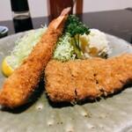 大関 - 料理写真:大関@塩釜 えびフライ・ひれかつ定食 2021年3月